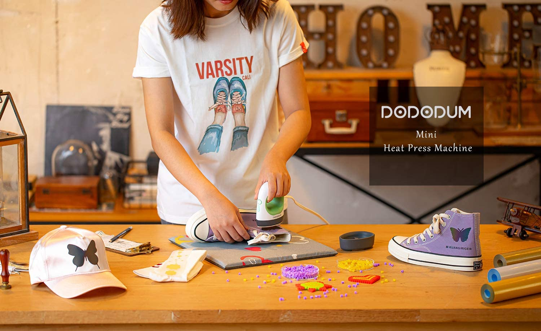 DODODUM Easy Press Mini Heat Press Machine for T Shirts Shoes Hats Small HTV Vinyl Projects Portable Mini Easy Press for Heating Transfer Blue