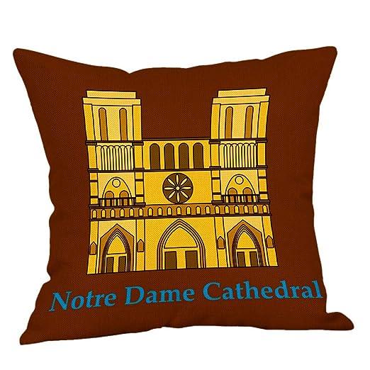 Bearbelly Estilo Moderno Paris Notre Dame Funda de Almohada ...