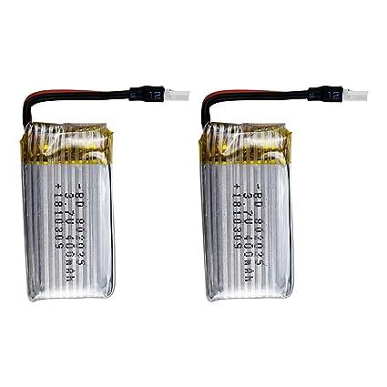 Fytoo 5PCS 3.7V 400mAh LiPO Batteria e 5in1 Caricabatterie per H99W JJRC H31 H6C H98 Drone telecomandato Pezzi di Ricambio Batteria-Rosso