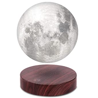 Vg Azer Levitating Moon Lamp,Floating And Spinning In Air Freely With Luxury Faux Wooden Base And 3 D Printing Led Moon Light,For Unique Gifts,Room Decor,Night Light,Office Desk Tech Toys   6 Inch by Vg Azer