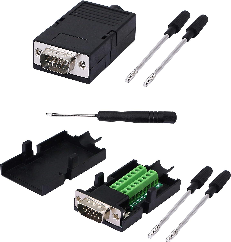 DB15 Male D-SUB 3 Row 15 Pin VGA Plug Breakout Terminal Solderless Connectors