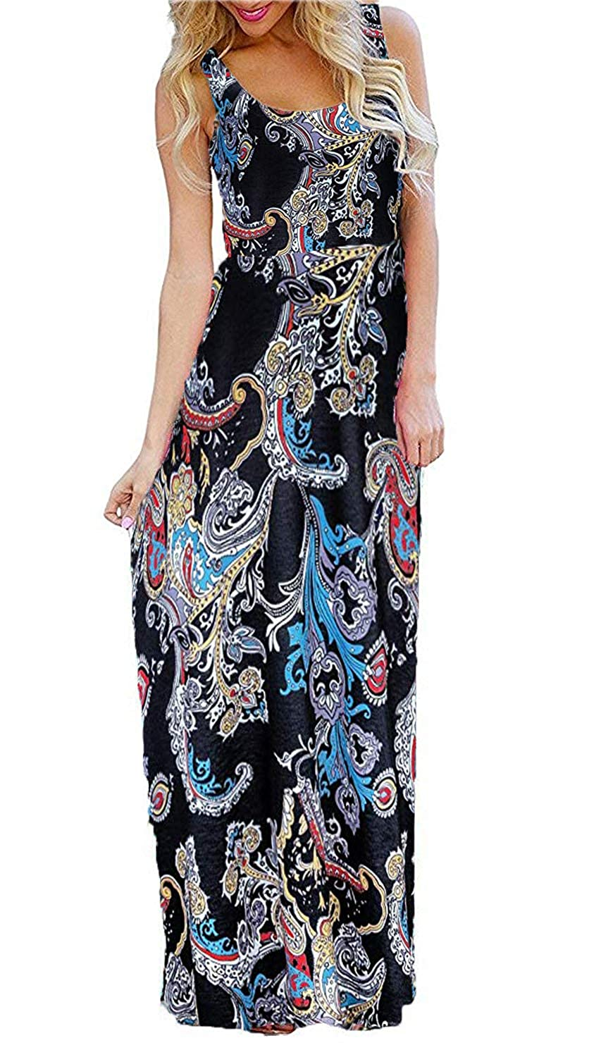 056df5a58263 BLUETIME Women s Floral Boho Flowy Summer Sleeveless Tank Maxi Long Party  Dresses Beach Sundress at Amazon Women s Clothing store