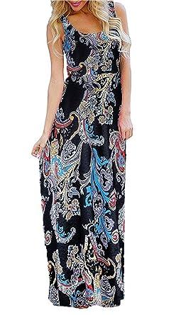 414d1453820 BLUETIME Women s Floral Boho Flowy Summer Sleeveless Tank Maxi Long Party Dresses  Beach Sundress (Black