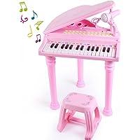 SGILE 31 teclas Infantil Mini Piano Teclado Juguete con Micrófono y Taburete, instrumento educativo con luces y Canciones de Música, Teclado Electrónico Piano Musical Regalo para Niños