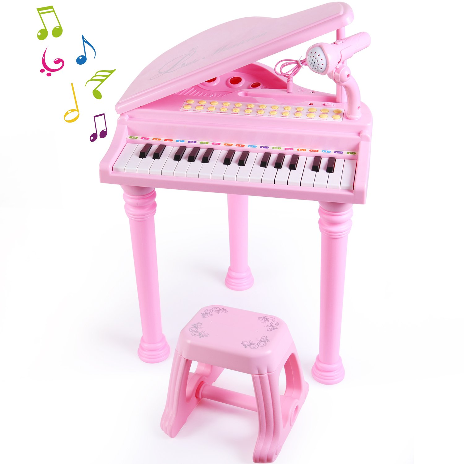 SGILE 31 Keys Musical Piano Toy with Microphone and Stool, Learn-to-Play for Girl Toddlers Kids Singing Music development, Audio link with Mobile MP3 IPad PC,Pink