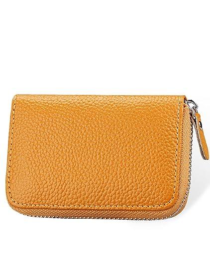 DYSS Cuero Tarjeta de crédito Wallet,Billetera Monedero para Hombres Mujeres,Protector de tarjeta de bloqueo RFID Cartera de viaje / Estuche / ...