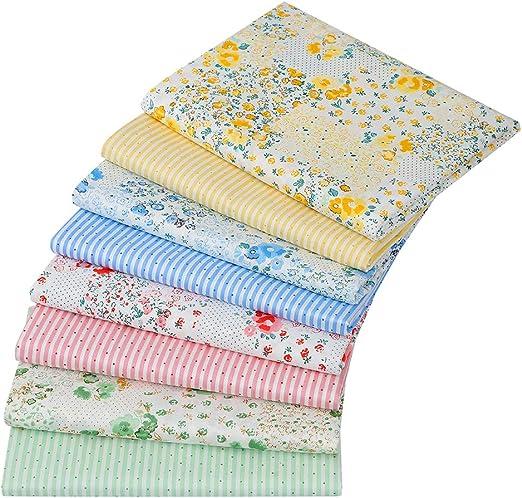 8 piezas de retales de tela de algodón de 46 cm x 56 cm para manualidades, cuadrados, patchwork, diseño floral, material de algodón: Amazon.es: Hogar