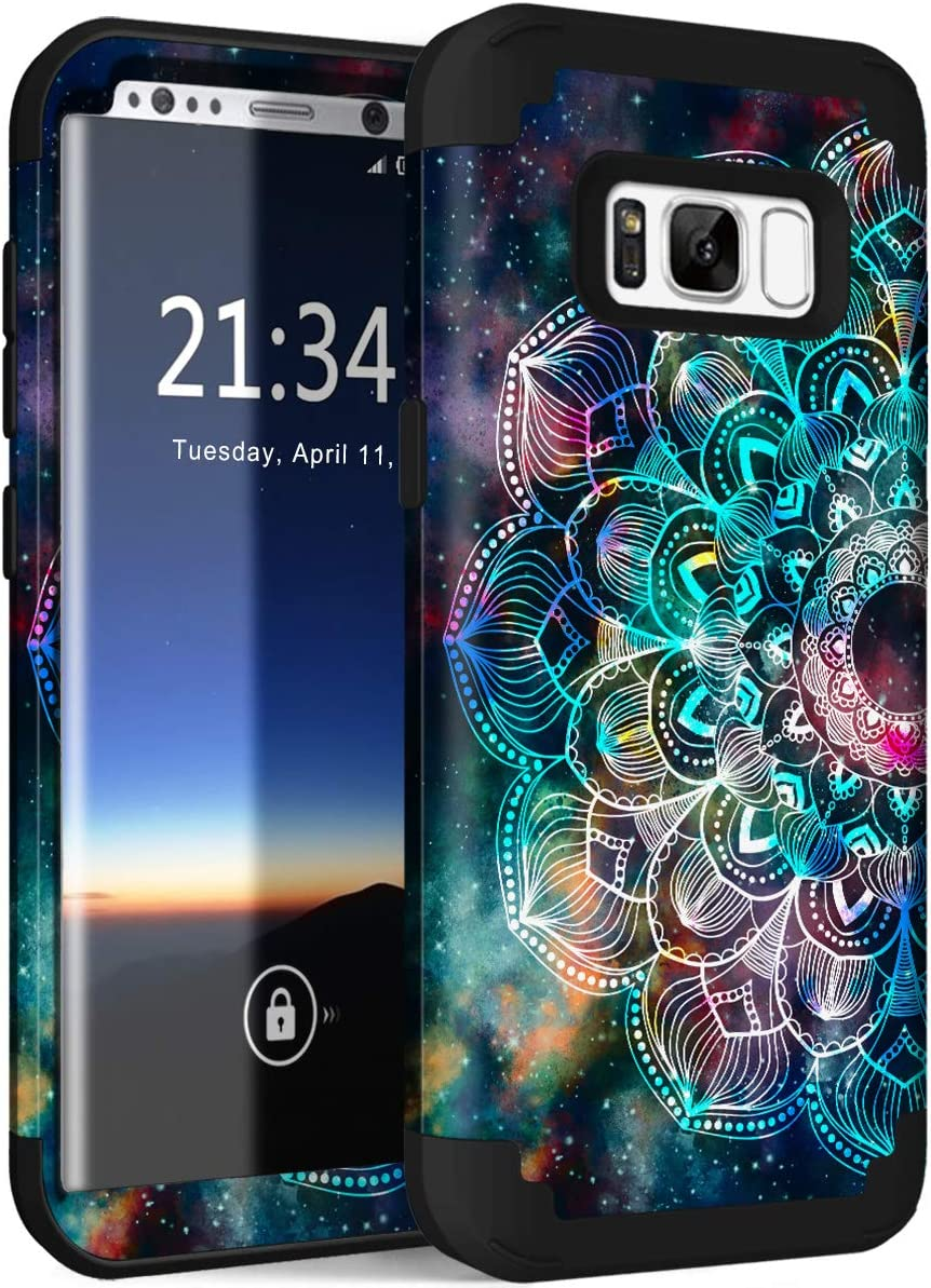 """Hocase Galaxy S8 Case, Heavy Duty Protection Shock Absorbing Silicone Rubber Bumper+Hard Plastic Shell Hybrid Dual Layer Protective Case for Samsung Galaxy S8 (SM-G950U) 5.8"""" 2017 - Mandala in Galaxy"""
