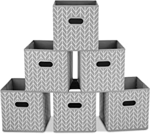 MaidMAX Cloth Storage Bins, Cube Organizer Bins, Foldable Storage Cubes Baskets with Dual Plastic Handles for Home Office Nursery Drawers Organizers, Gray, 10.5×10.5×11 inches, Set of 6