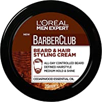 L'Oréal Paris Men Expert Barber Club Beard and Hair Styling Paste For Men, Medium Hold, Enriched with Cedar Wood, 75ml