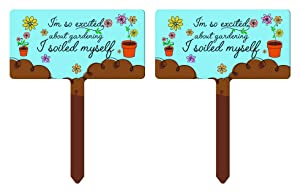 ThisWear Funny Gardening Gifts So Excited About Gardening I Soiled Myself Pun 2-Pack Rectangle Garden Signs