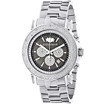 amazon com large face watches for men luxurman diamond watch large face watches for men luxurman diamond watch chronograph 0 25ct