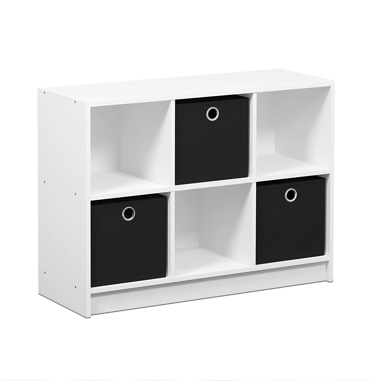 FURINNO Basic 3x2 Bookcase Storage, White/Black