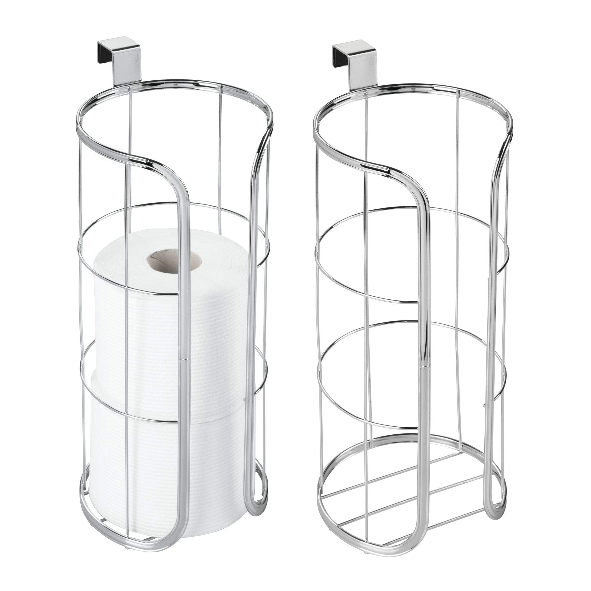 mDesign Modern Over The Tank Hanging Toilet Tissue Paper Roll Holder and Reserve for Bathroom Storage - Stores Three Extra Rolls, Holds Jumbo-Sized Rolls - Pack of 2, Durable Metal Wire in Chrome