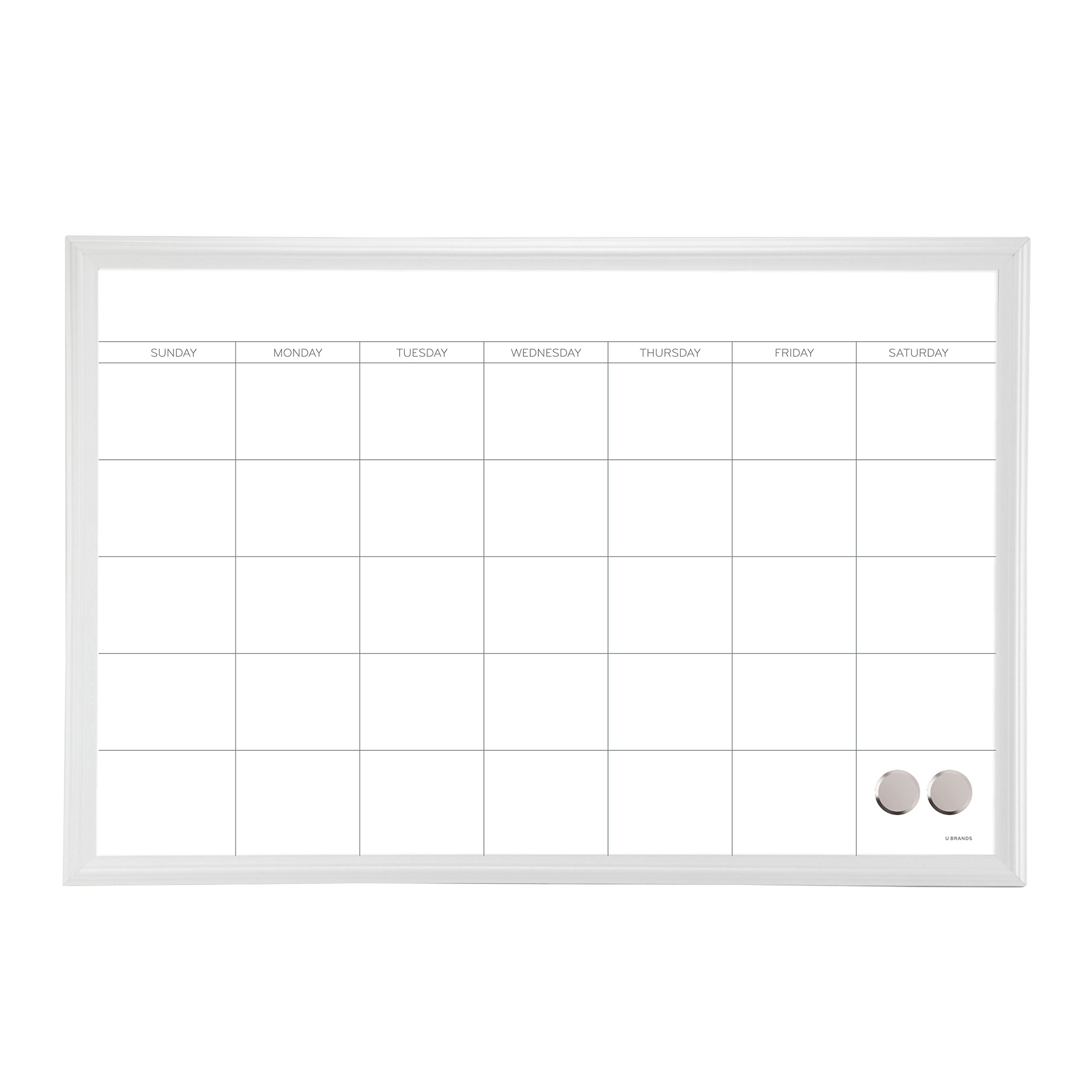 U Brands Magnetic Dry Erase Calendar Board, 20 x 30 Inches, White Wood Frame