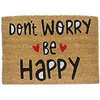 """koko doormats Zerbino ingresso casa Originale """"Don't Worry Be Happy"""" 60x40 cm, tappetino originale e divertente per ingresso in fibra di cocco e pvc, base antiscivolo, 40 x 60 cm"""