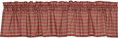 The BitLoom Co. Star Patch Red Collection, Red Plaid Valance 16×72