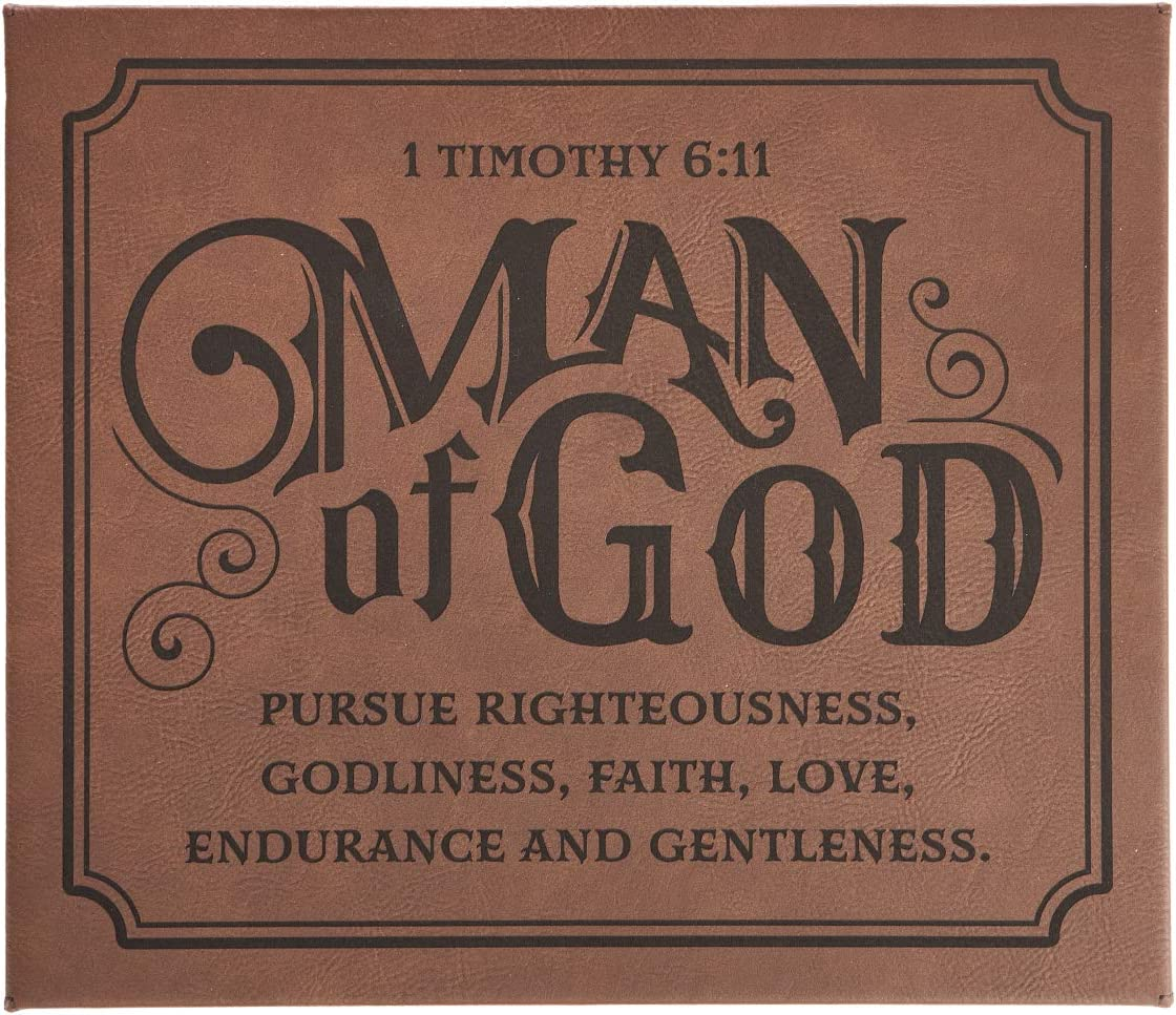 Man of God - 1 Timothy 6:11 Bible Verse Inspirational Wall Plaque | Christian Home and Office Decor for Men
