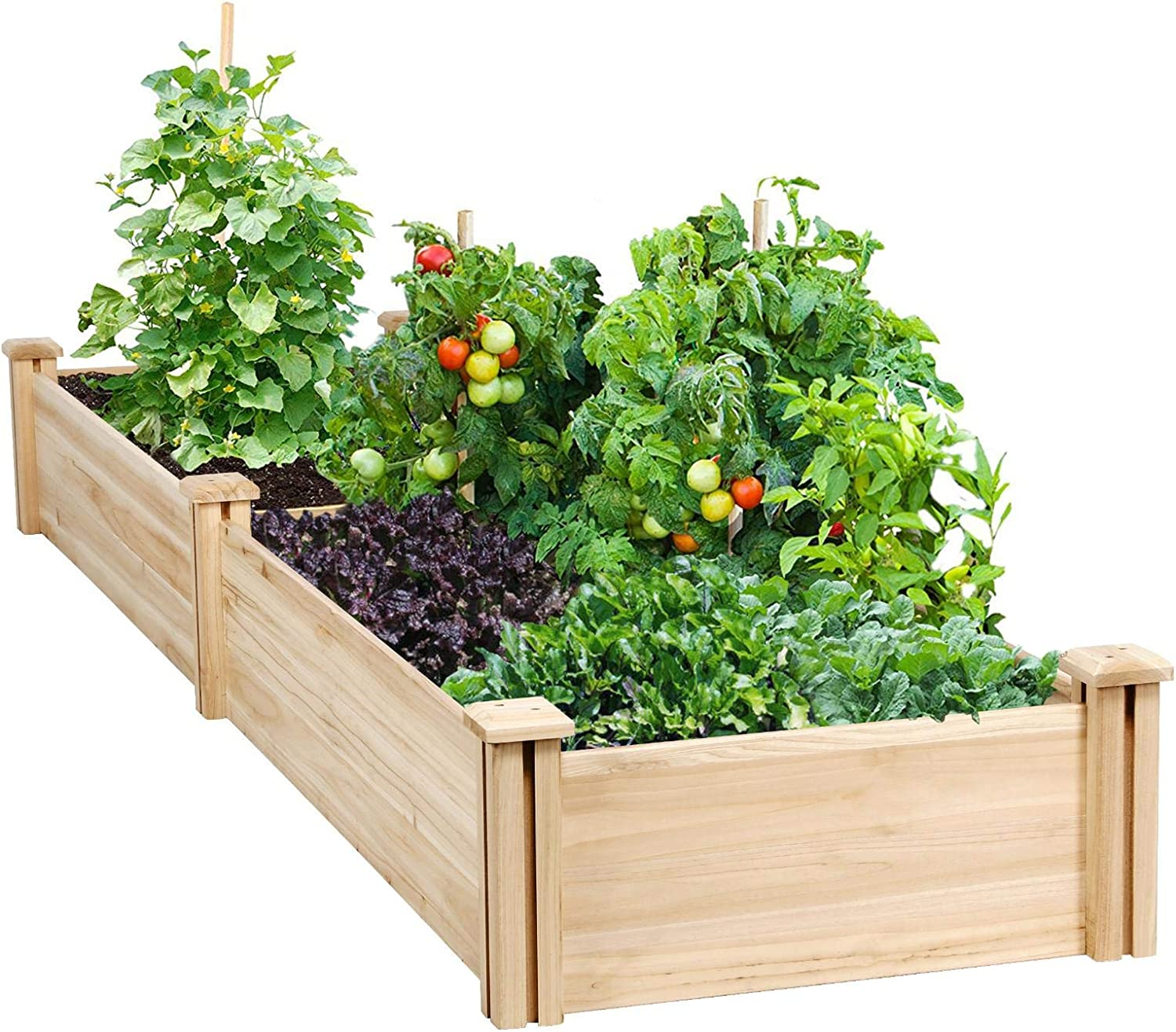 Amazon Com Yaheetech Raised Garden Bed Kit Wooden Elevated Planter Garden Box For Vegetable Flower Herb Outdoor Solid Wood 96 7 X 24 6 X 10 6inches Garden Outdoor