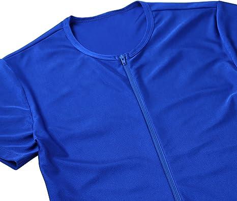 Freebily Uomo Bodysuit Tuta Jumpsuit Sportivo Camicia Slim Fit Manica Corta Bodybuilding t-Shirt Gym Girocollo Salopette Elastico Underwear pantaloncine