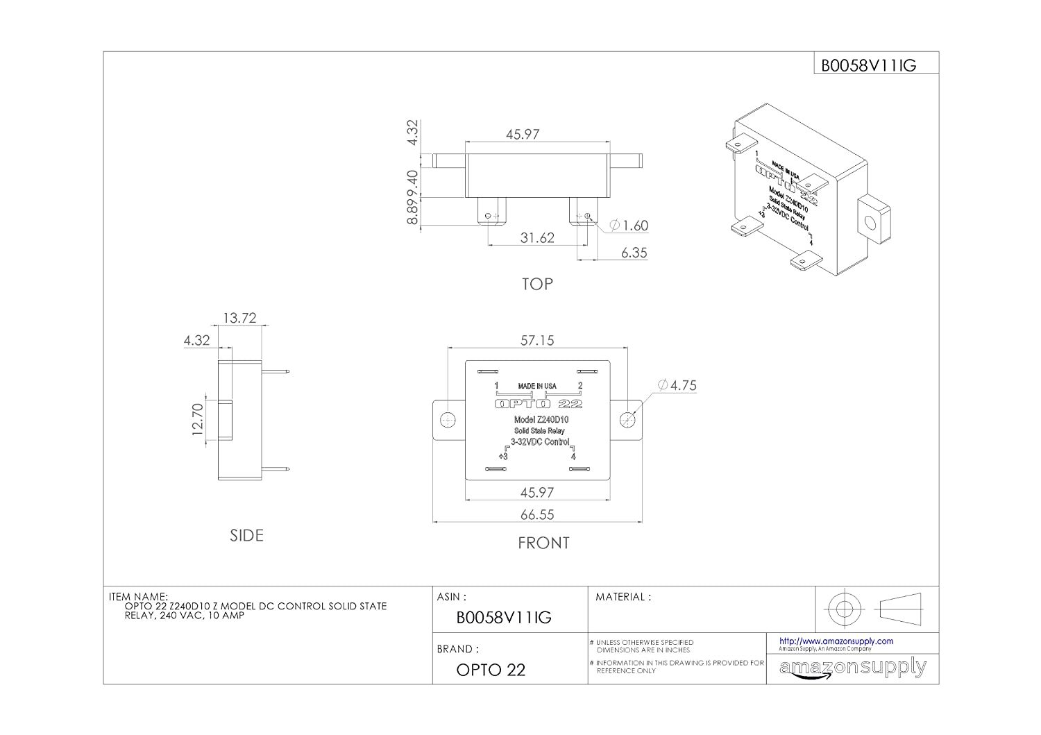 Opto 22 Ssr Wiring Diagram Library Relay Z240d10 Z Model Dc Control Solid State 240 Vac 10 Amp