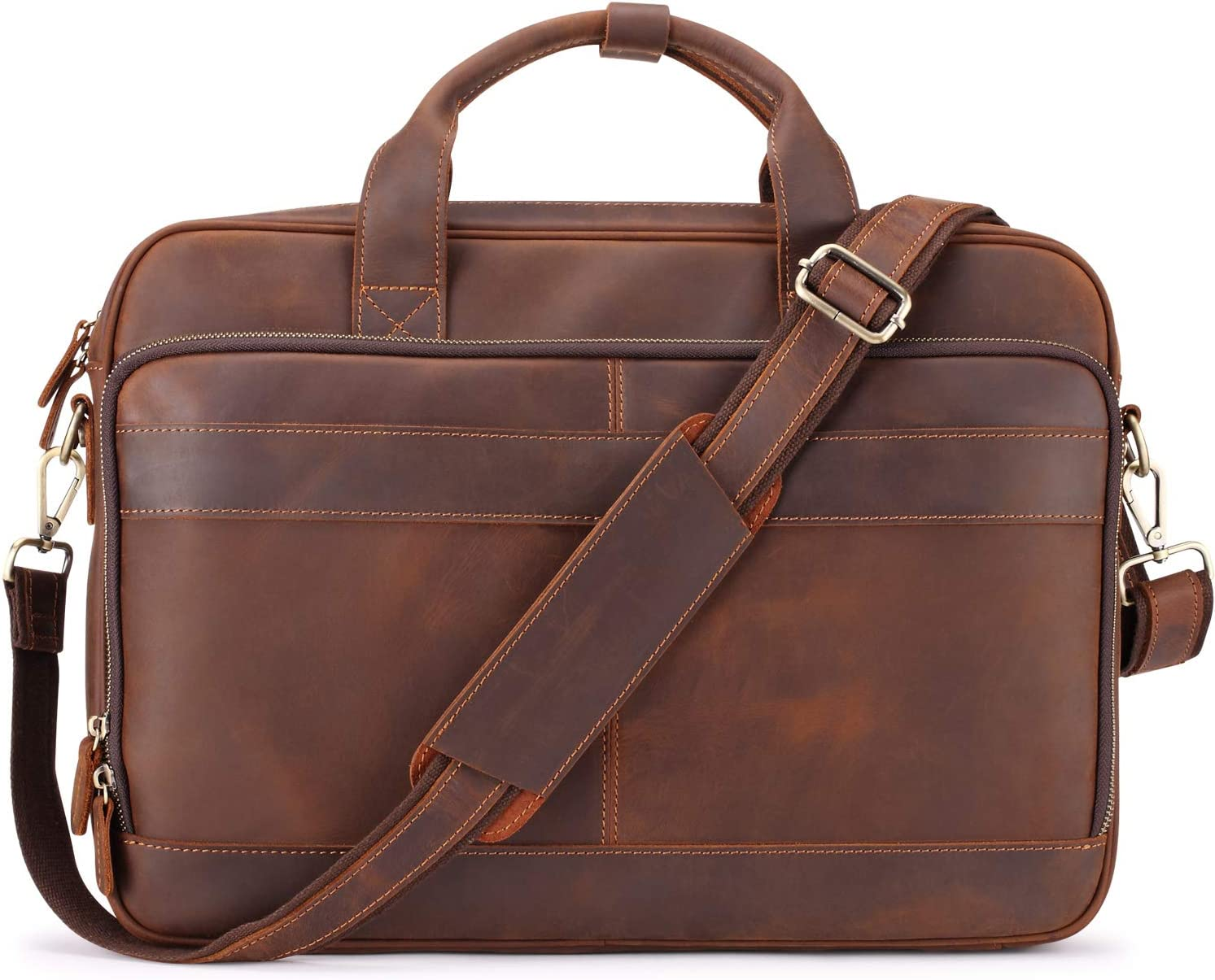 "Jack&Chris Men's Genuine Leather Briefcase Messenger Bag Attache Case 15.6"" Laptop, MB005-9L"