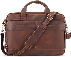 """Jack&Chris Men's Genuine Leather Briefcase Messenger Bag Attache Case 15.6"""" Laptop, MB005-9L"""