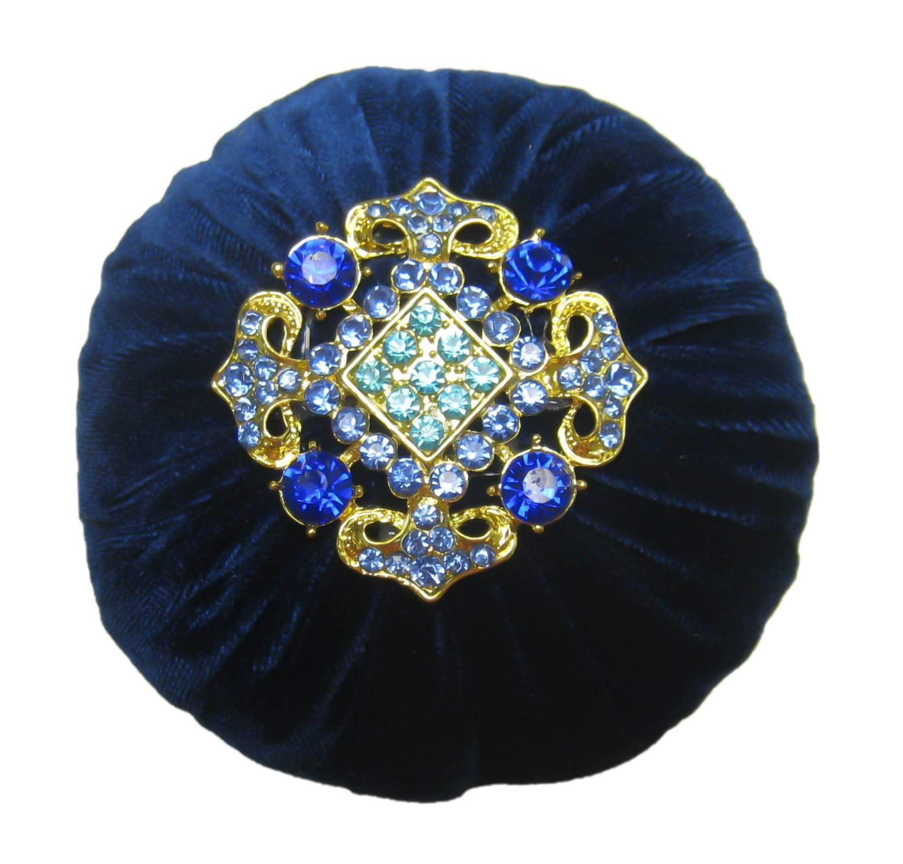 Nakpunar 4'' Navy Blue Velvet Pin Cushion for Sewing - Decorated Rhinestone and Filled with Abrasive Emery Sand by Nakpunar