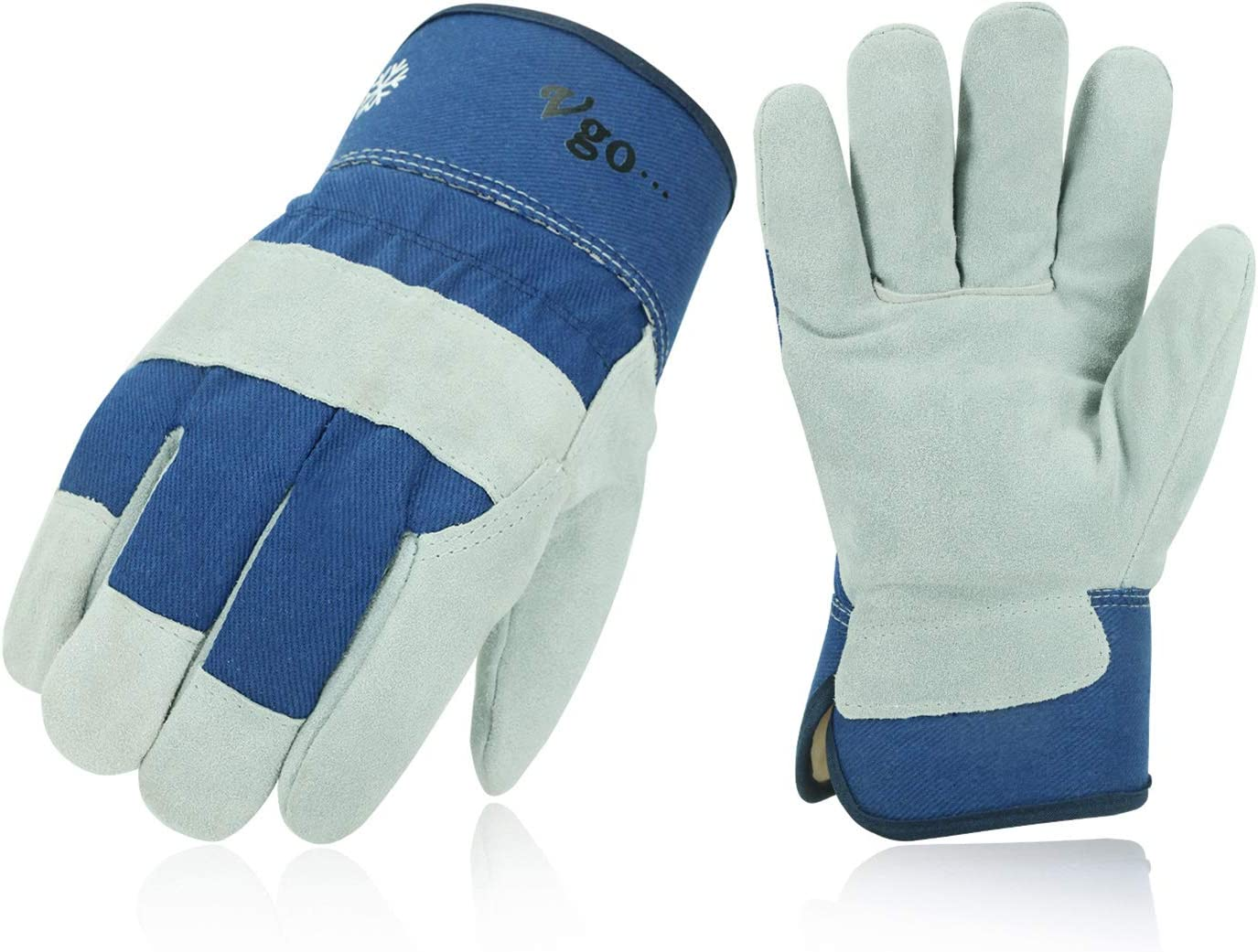 Vgo 3Pairs 32℉ or above Winter Lined Cowhide Split Leather Work and Driver Gloves, For Heavy Duty, Truck Driving, Warehouse, Gardening, Farm (Size L,Blue,CB3501F)