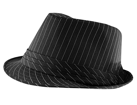 7b572d7ef3f2 Itzu Classic Adult Mens Pinstripe Trilby Fedora Hat with Band (Black ...