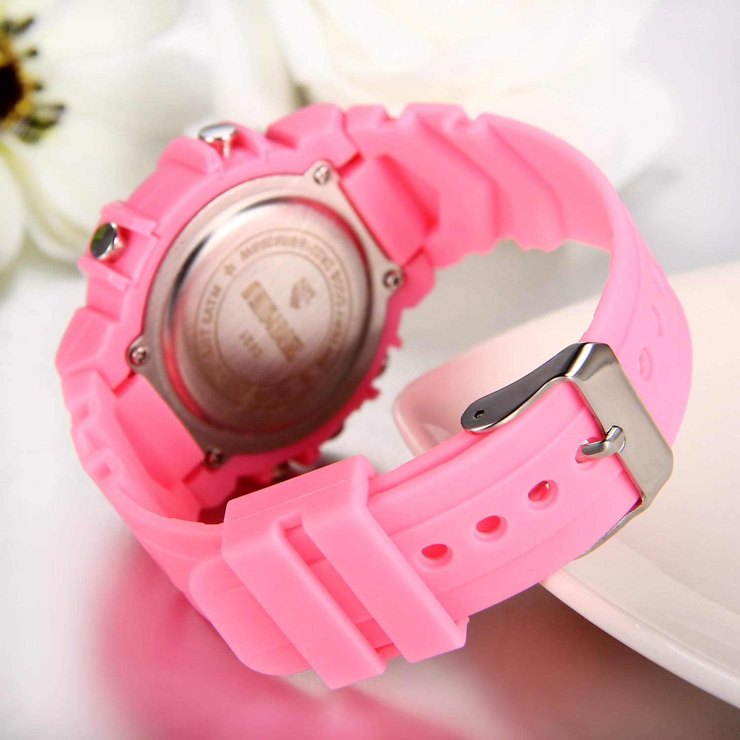 Amazon.com: JewelryWe Mens Womens Sports Digital Dual Time Clocks Quartz Multifunctional Watch - Pink: Watches