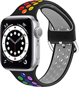 WNIPH Silicone Sports Bands Compatible with Apple Watch Band 42mm 44mm, Soft Breathable Silicone Straps Replacement Wristband for iwatch Series 6/5/4/3/2/1/SE for Men Women (Black Rainbow, 42mm/44mm)