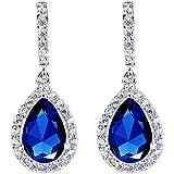 EleQueen 925 Sterling Silver Full Cubic Zirconia Teardrop Bridal Dangle Earrings