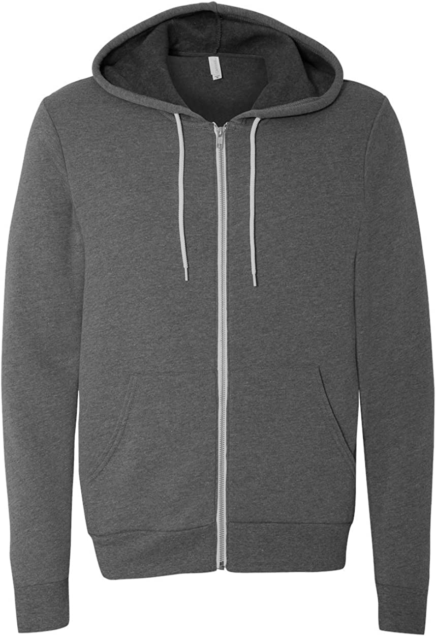 Deep Heather44; Large Bella 3739 Unisex Poly-Cotton Fleece Full-Zip Hoodie