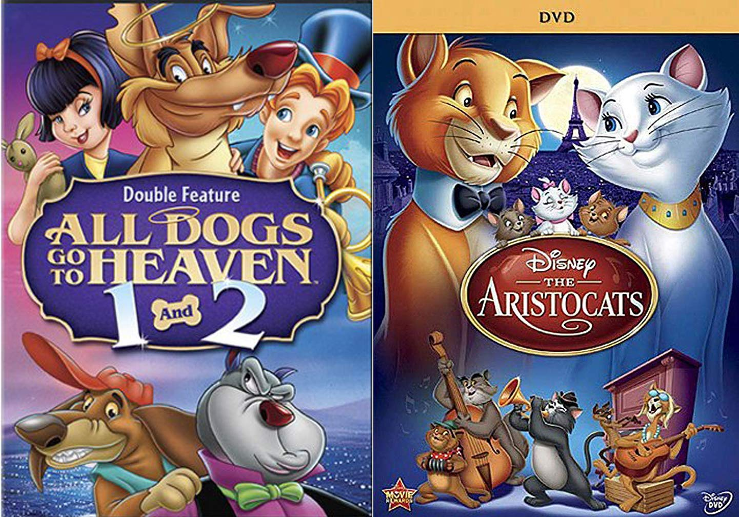 Amazon Com Animals Tooned Three Times Cats Dogs Aristocats Disney Animated Movie Dvd All Dogs Go To Heaven 1 2 Triple Cartoon Feature Pack Movies Tv