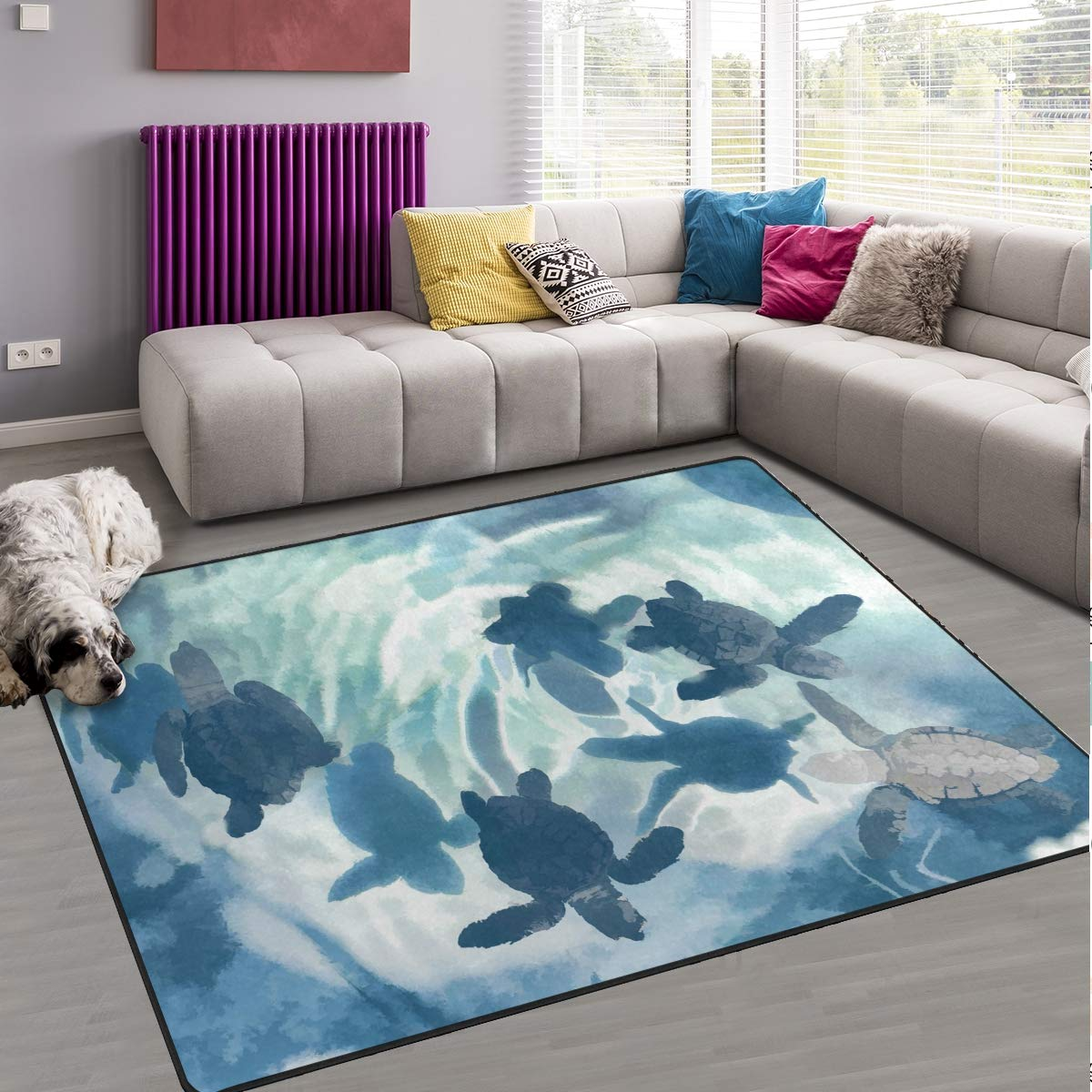 Naanle Ocean Sea Life Area Rug 4 x6 , Cute Sea Turtle Polyester Area Rug Mat for Living Dining Dorm Room Bedroom Home Decorative