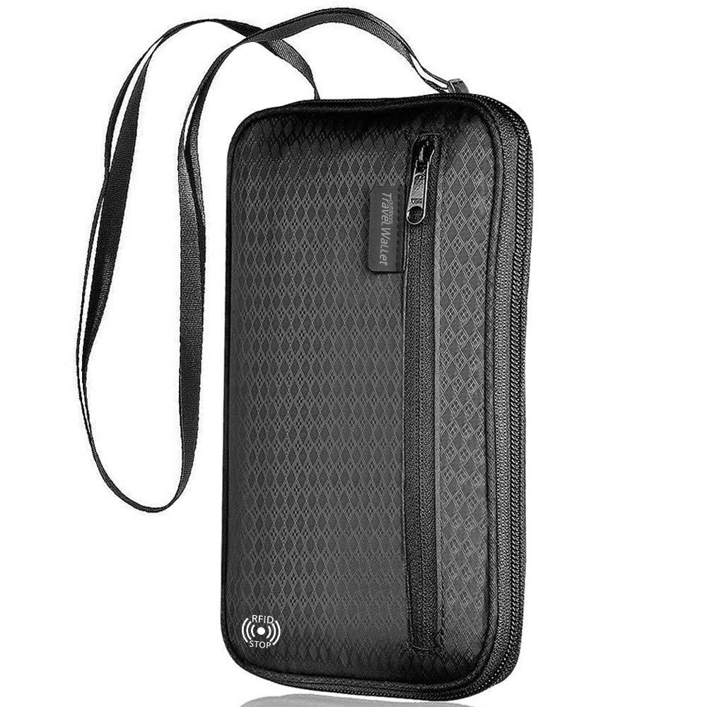 【LATEST】RFID Passport Holder LUXSURE Neck Travel Wallet Family Passport Holder for Women/Men - RFID Blocking Design/Waterproof/Multiple Zipper Protection(Black) by LUXSURE