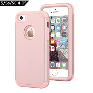 Dailylux Funda iPhone 5s Funda iPhone 5 Funda iPhone SE Carcasa Protector TPU + PC Resistente a los arañazos para el iPhone 5S 5 SE -Oro Rosa