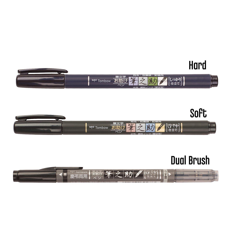 Tombow brush pen, Fudenosuke, black ink Dual Pen + Weich + Hart