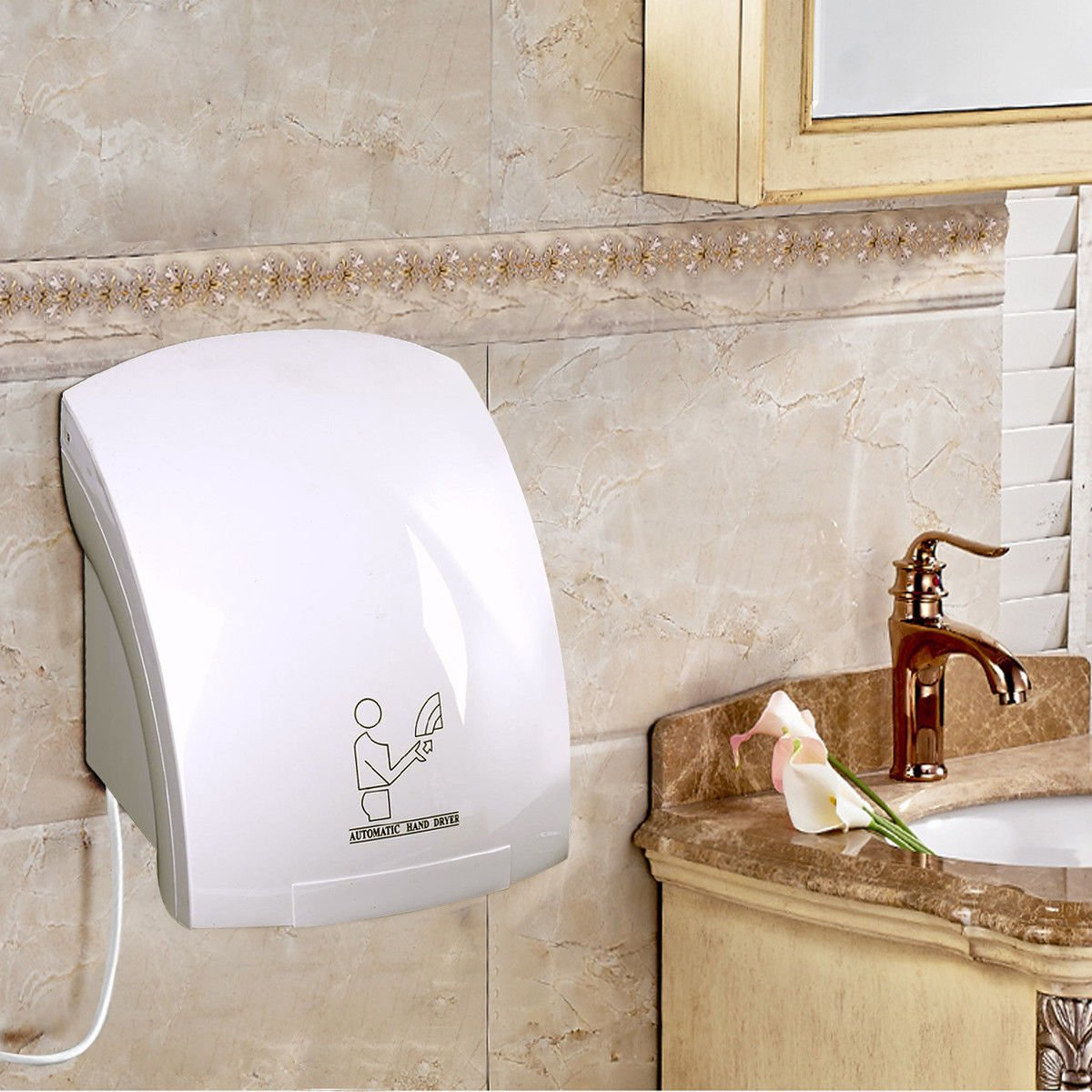 Hand Dryers for Toilets, Wall Mounted Hand Dryer Commercial, Automatic Electric Hand Dryer, Warm Air Dryer Heavy Duty WAF