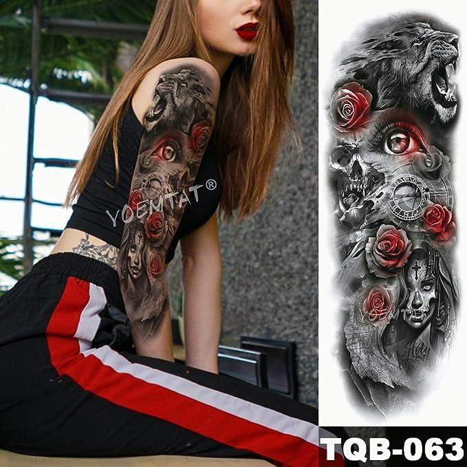 tzxdbh Manga del Brazo Grande Tatuaje Catrina Ojos Rojos Rosa ...