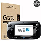 (Pack of 2) Tempered Glass Screen Protector for Nintendo Wii U, Akwox [0.3mm 2.5D High Definition 9H] Premium Clear Screen Protective Film for Nintendo Wii U