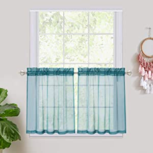"""Haperlare Teal Sheer Curtain Tiers, Rod Pocket Sheer Kitchen Curtains Half Window Valances Semitransparent Voile Panel Drapes for Kitchen/Cafe - 27"""" W x 30"""" L, Teal, Set of 2"""