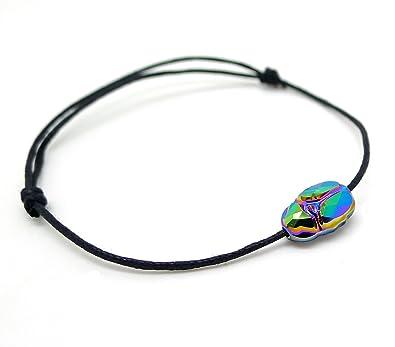 175544e827508 Les Bijoux Acidulés - Bracelet Lien Coulissant en Cristal Swarovski Element  Grigri Scarabée Porte Bonheur -