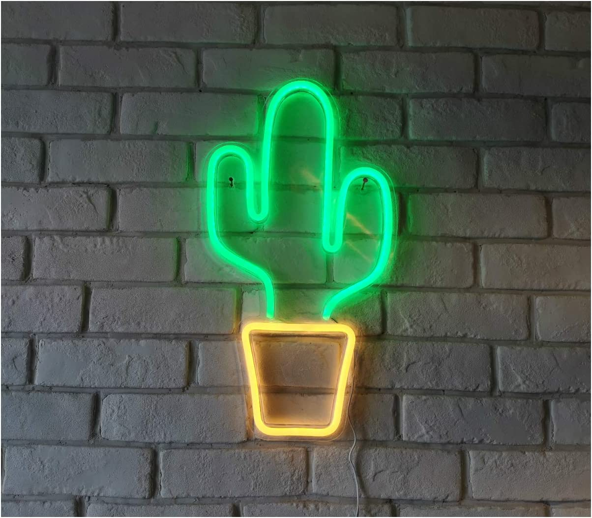 "LED Neon Light Sign, 18.5""x10"" Green Cactus Wall Art Decorative Neon Sign Pin Wall Hanging Sign for Bedroom Living Room Kid's Room Party,Home Decor Neon Night Light USB Powered(Green Cactus)"