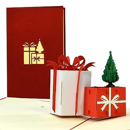 Tarjeta de Navidad en 3D, regalo pop-up, bonita idea de ...