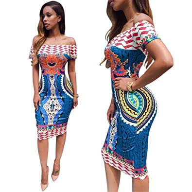 fe62b7ac8dc CreazyWomen Traditional African Print Dashiki Bodycon Sexy Short Sleeve  Dress (XL)