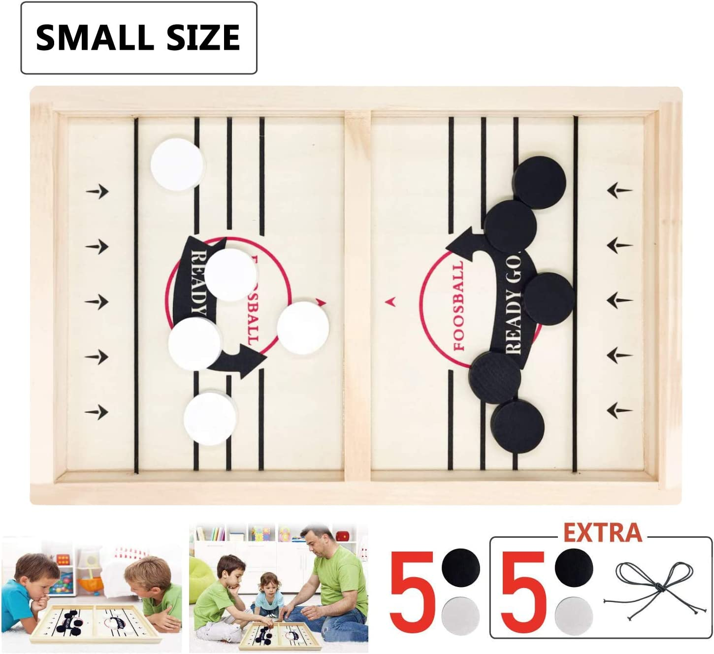 Toydaze Sling Foosball Fast Sling Puck Game with Extra 10 Pucks & 2 Slingshots for Spare Use, Portable Slingpuck Board Game for Child, Foosball Slingshot Outdoor Camping Board Games for Family