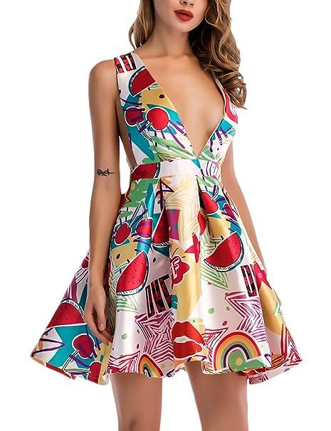 Mujer Vestido Verano Elegantes Moda Estampado Vestidos Cortos V Cuello Sin Mangas Lindo Chic Talle Alto