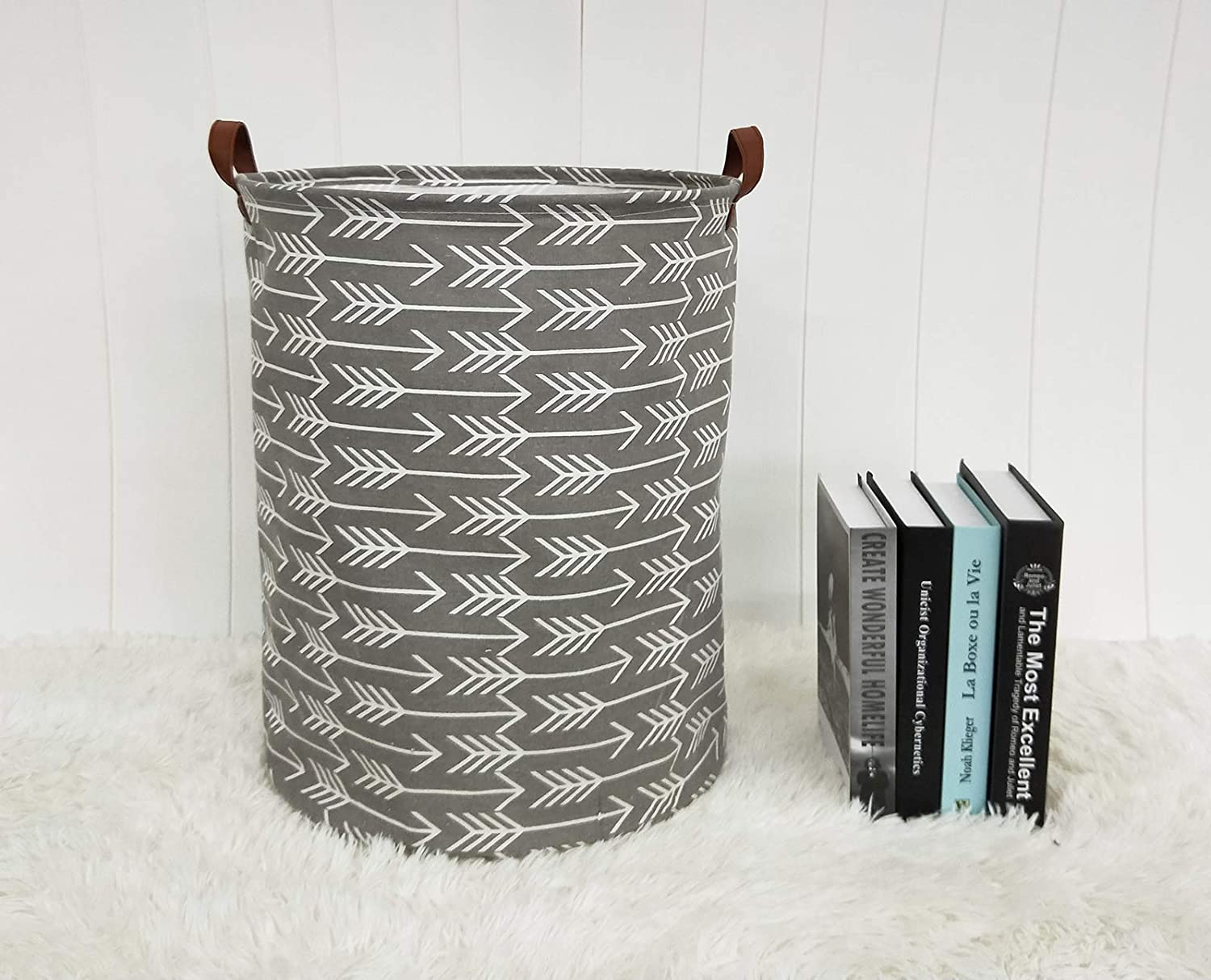 Grey Arrows HIYAGON Large Storage Baskets,Waterproof Laundry Baskets,Collapsible Canvas Basket for Storage Bin for Kids Room,Toy Organizer,Home Decor,Baby Hamper